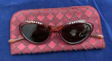 Original Italian 1950s Cats Eye Rhinestone Sunglasses With Soft Case