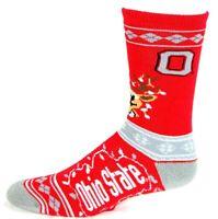 Ohio State Buckeyes NCAA Ugly Christmas Stripe Sweater Reindeer Crew Socks