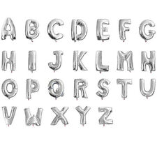 """16"""" 40"""" Silver Mylar Letter Number Balloons Party Birthday Wedding Decorations"""