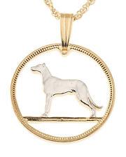 "Irish Wolfhound Coin Pendant Necklace Handcut - 3/4"" diameter , ( # 160 )"
