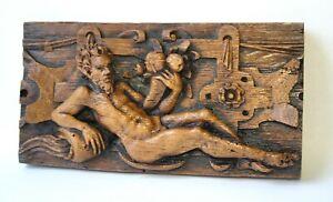 Adam Medieval Church Pew Carving Biblical Ornament Plaque Unique Gift