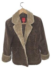 ESPRIT Women's Brown Corduroy Jacket Coat M ~ Faux Fur Collar & Cuffs