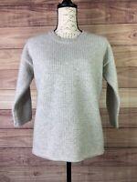 Madewell 100% Merino Wool Pullover Sweater Sz XS Gray Crew Neck Waffle Knit