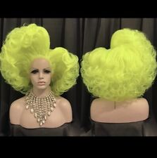 Curly Neon Yellow Drag Queen Lace Front Wig