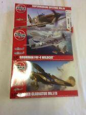 Airfix Spitfire MK1, Gloster Gladiator & Grumman Wildcat 1/72nd Escala