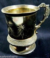 Antique Ca 1884 American Pelton Bros & Co. Triple Silverplated footed cup Clyde