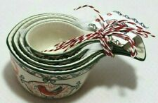 New listing Dutch Wax Handpainted Multi-Colored Ceramic Floral and Bird Measuring Cups New