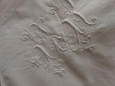 ancienne taie d'oreiller en coton  monogrammée ER