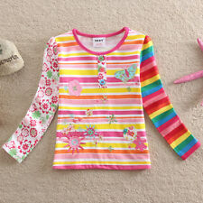 Girl long-sleeved t-shirt rainbow stripes cotton embroidery spring and autumn