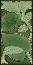 TH3023 Voysey Pilkington's Art Nouveau Majolica Fish & Leaf Tile Panel c.1902