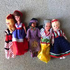 "vintage lot of 5 dolls plastic made in Hong Kong moving eyes Atc 8"" Native Latin"