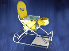 Vintage Baby Bouncer Chair Metal Frame Bouncing Seat for Infants with Toy Tray
