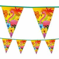 6m Plastic Bunting Garland Pennant Flag Hawaiian Flamingo Summer Garden Party