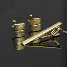 Quality Men Plating Metal Necktie Tie Bar Clasp Clip Cufflinks Set Simple Gift