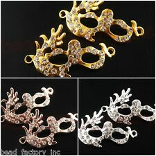 1pcs Crystal Gold Plated Women Mask Pendants Bracelet Finding Connectors 23x39mm