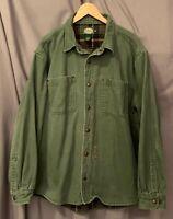 Cabelas Men's XL 100% Cotton Fully Lined Heavyweight ROCQUE LS Work Shirt EUC!