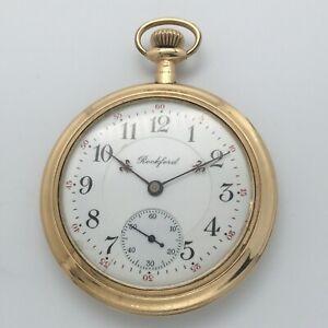 RARE 1910 Rockford Iroquois Grade 355 17J 12s OF GF Pocket Watch - Triple Signed