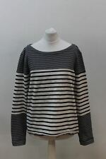 MIH JEANS Ladies Blue & Ivory Cotton Long Sleeve Crew Neck Striped Jumper S