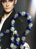 Antique Gablonz ART DECO Czech Blue Frosted /Sea glass Roman Glass NECKLACE
