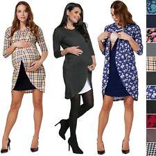 Happy Mama. Women's Maternity Nursing Wrap Dress 3/4 Sleeves. Double Layer. 033p