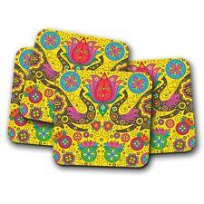 4 Set - Indian Elephant Pattern Coaster - Boho Lotus Flower Mum Gran Gift #15348