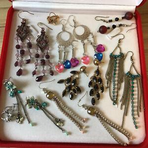 Mixed Lot Jewellery 9 Pairs Hook Dangling & Screw Earrings - Gemstones Enamel +
