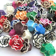 10Pcs Multi-Color Rose Flower Polymer Clay Beads Finding--20mm*9mm