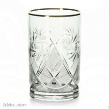 Russian Crystal drinking Glass Gold rimmed-Vintage Style USSR Hand made SET OF 6