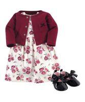 Toddler Girls Rose Dress Burgundy Shrug Black Shoes 18 Months  NWT