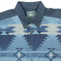 Vtg Woolrich Navajo Aztec Chamois Work Shirt Mens LARGE USA Made Heritage Blue