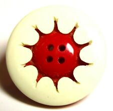 New listing Stellar Antique 1920'S Art Deco Red & White Carved & Laminated Celluloid Button