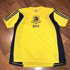 Adidas 2012 Yellow Navy BOSTON Marathon 5K Mens LARGE Running jersey shirt L