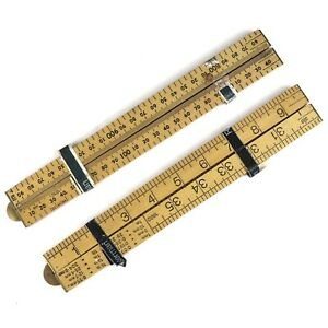Two Very Nice New Old Stock Rabone Wooden Folding One Meter Rules / Rulers