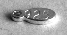 5 STERLING SILVER 925 TINY SHINY OVAL CHARMS / TAGS, 8.5 X 3 MM