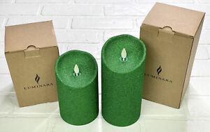 "Luminara Set 2 Glitter Flameless Remote Indoor Candles Green Sparkle 5"" 7"""