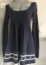 CREW CLOTHING Navy Blue Knitted Tunic Dress Snowflake Pattern Christmas SZ 10