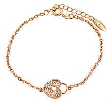 Luxus Armband Armkette Schloß Herz Zirkonia weiß 750er Gold 18K vergoldet