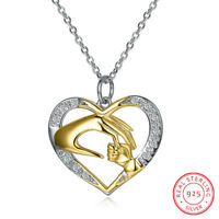 S925 sterling silver heart with diamond pendant necklace Mom's love necklace