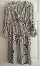 "NWT Women's ""DANIEL RAINN"" Ivory & Black Striped With Floral Print Dress Size M"