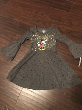 NWT Disney Minnie Mouse Girls Dress Sz XS 4-5 Christmas Bell Sleeve Gray Sparkle