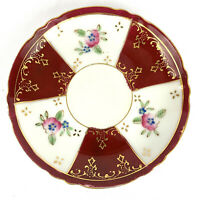 NASCO JAPAN Antique Saucer Porcelain Hand Painted Gold Trim Floral Scalloped Red