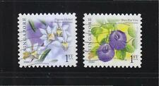 SINGAPORE 2009 BLUE PEA VINE & PIGEON ORCHID 1ST LOCAL 2ND REPRINT (2009C) USED