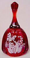 Fenton Glass Ruby Oval Bell Hand Painted Butterfly & Floral QVC Exclusive