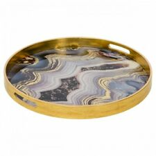 Large Circular Gold Tray With Oyster Design Golden Blue