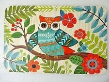 Owl Placemats 2Pc Reversible Flexible Wipe Clean Protects Dining Table Bird