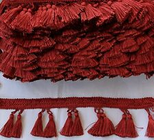 Dual Tasssel Fringe Trim  Cranberry Red, 3 1/2 inches long, Polyester