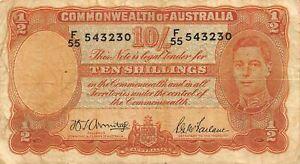 Australia  10/-   ND. 1942   P 25b  Series  F/55  Circulated Banknote #8LB