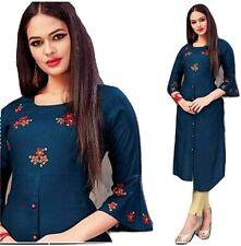 Mannat Women's Embroidered Reyon Designer Anarkali Kurti Kurta Blue