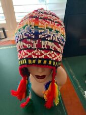 PERUVIAN CHULLO HAT WITH BEADS MULTICOLOURED RAVE FESTIVAL  HAND MADE  12