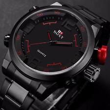 Luxus Herren Militär Uhren Edelstahl Analog Quarz Sport Armbanduhren Waterproof